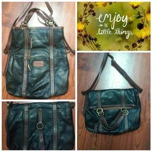 Lucky Foldover Cossbody Black Leather Bag NWOT
